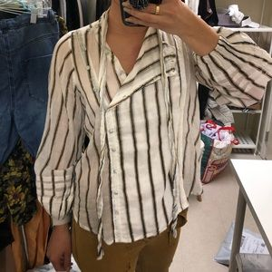 NWOT Free People Striped Sleeved Blouse